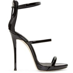 Giuseppe Zanotti Black Patent Coline Sandals (3.185 RON) ❤ liked on Polyvore featuring shoes, sandals, black, vernice nero, black patent leather sandals, leather sole sandals, patent leather shoes, giuseppe zanotti shoes and black sandals