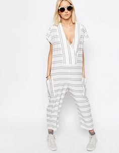 Image 1 of ASOS WHITE Stripe Jumpsuit