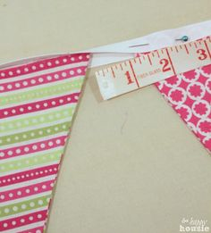How to Sew a Double Sided Pennant Bunting Banner at The Happy Housie ribbon