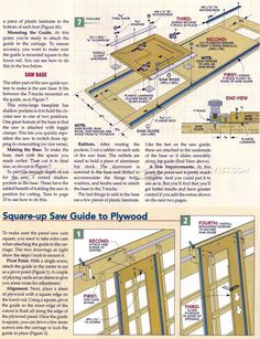 Panel Saw Plans - Circular Saw Tips, Jigs and Fixtures - Woodwork, Woodworking, Woodworking Plans, Woodworking Projects Woodworking Equipment, Woodworking Projects, Diy Table Saw Fence, Table Saw Station, Panel Saw, House Plan With Loft, Wooden Toy Boxes, Wood Shop Projects, Diy Garage Storage