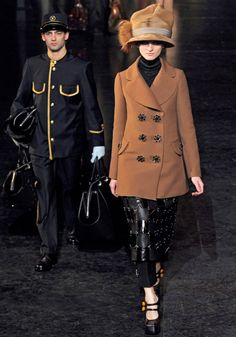 Louis Vuitton Fall 2012 pea coat with leather skirt
