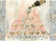A Jazz Age-inspired sketch for the Tiffany windows designed in collaboration with Catherine Martin, the Academy Award®-winning costume designer of The Great Gatsby. Champagne Fountain, Champagne Tower, Champagne Glasses, Champagne Taste, Champagne Images, Jazz Age, Vintage Glam, Art Deco, The Great Gatsby