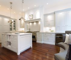 banquette basement   Tom Howley - kitchens - light gray cabinets, light gray kitchen ...