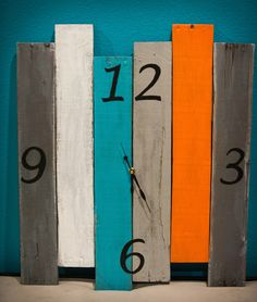 Brightly colored rustic clock by BreakingandRemaking on Etsy https://www.etsy.com/listing/244880350/brightly-colored-rustic-clock
