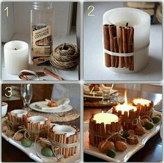DIY Cinnamon Stick Holiday Decor Ideas Attach cinnamon sticks to candles! The heat from the flame will make your home smell like deliciousness! Christmas Candle Decorations, Christmas Candles, Holiday Decor, Diy Candle Holders Christmas, Noel Christmas, Simple Christmas, Christmas Crafts, Christmas Cheese, Deco Table Noel