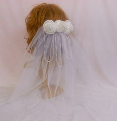 White Roses Pearls Wedding VeilHandmade by IrmasElegantBoutique