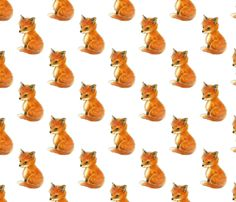 Fox Baby Vintage White custom fabric by 13moons_design for sale on Spoonflower
