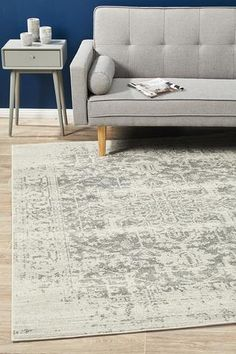 Richmond White Silver Faded Vintage Look Floor Rug - Rug Emporium Small Living Rooms, Rugs In Living Room, Fade Styles, Polypropylene Rugs, Classic Rugs, Rustic Rugs, Transitional Rugs, Floor Rugs, Round Rugs