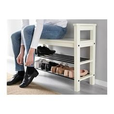 """IKEA - HEMNES Bench with shoe storage Bench with shoe storage. Size: 33 """" Have a seat while putting on your shoes. The simple, classical design with a touch of tradition looks great with other furniture in the HEMNES series. Shoe Storage White, Front Door Shoe Storage, Bench With Shoe Storage, Small Storage, Shoe Rack Bench, Diy Shoe Storage, Ikea Storage, Shoe Rack By Front Door, Wood Shoe Rack"""