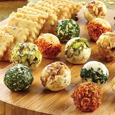 Cheese Ball Appetizers- One basic recipe then 4 different versions! Only 3 ingred. Use small scoop and refrigerate!