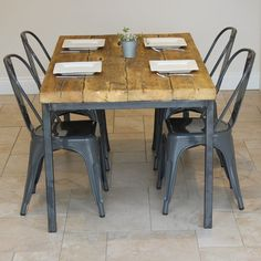 Find This Pin And More On Metal Furniture By PiggygardenUK Industrial Reclaimed Timber Dining