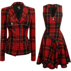 This jacket commands attention and radiates confidence. Pair with a killer pair of skinny black jeans (or even leather ones), sexy stilettos, a plain black tee & a fierce hairdo. You'll have the boys drooling and the women wishing they were you. Mode Tartan, Tartan Clothing, Dress Outfits, Fashion Dresses, Tartan Fashion, Mode Boho, Character Outfits, Teen Fashion, Classy Fashion