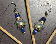 Mixed Metal Blue Cap Assemblage Earrings