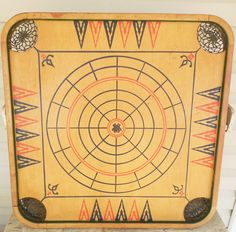 Carroms Co. Game Board Style C, Crokinole Spiders and Flies Game Board, Vintage Wood Game Board by ShellyisVintage on Etsy