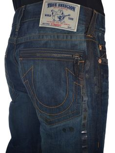 True Religion Mens Straight Leg Moto Jeans Size 44 with Zip Pocket NWT $343 #TrueReligion #ClassicStraightLeg