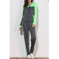 Active Hooded Color Block Zippered Long Sleeve Hoodie and Pants Twinset For Women from $18.65 by NASTYDRESS