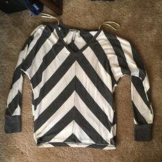 Gray And White Chevron Blouse 19