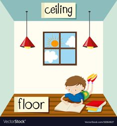 Opposite wordcard for ceiling and floor illustration Autism Learning, Toddler Learning Activities, Infant Activities, English Study, Learn English, Opposites Preschool, English Opposite Words, Body Preschool, All About Me Preschool