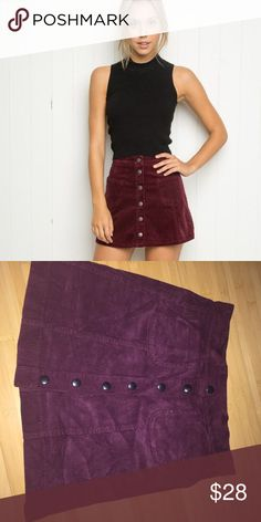 Button up skirt Corduroy button up skirt from brandy Melville never worn bought two of these in different colors and I never reached for this one maroon/ dark wine color Brandy Melville Skirts Mini