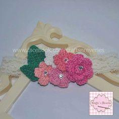 Crochet baby headband IG @craftsnreveries fb /craftsnreveries