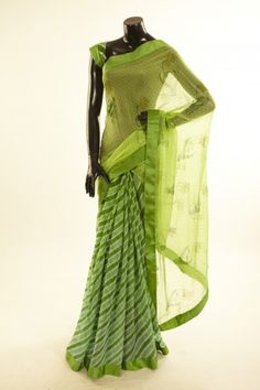Lehrayia- chiffon lime green fresh lime green light parrot green saree with blouse