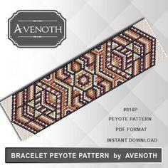 Peyote bracelet pattern, peyote pattern, stitch pattern, pdf file, pdf pattern, #016P