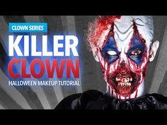 Killer Clown Halloween Makeup Tutorial - YouTube
