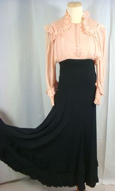 "Vintage 30s Pink & Black Silk Georgette Cocktail Dress ""Cartwright"" XXS"