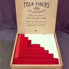 Made Here Series - Folk Fibers- handmade quilt packaged in cedar box. Cedar Box, Quilt Labels, Log Cabin Quilts, Quilting Designs, Quilting Ideas, Hand Quilting, Pattern Blocks, Crafts To Sell, Fiber