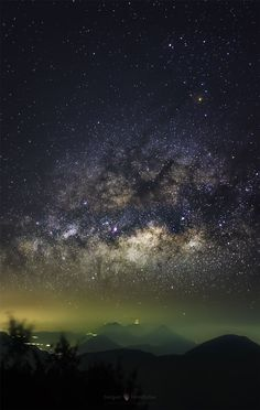 "just–space: ""Milky Way over Erupting Volcano : The view was worth the trip. Battling high winds, cold temperatures, and low oxygen, the trek to near the top of the volcano Santa Maria in Guatemala while carrying sensitive camera equipment was lonely. Cosmos, Erupting Volcano, Astronomy Pictures, Milky Way, Science And Nature, Night Skies, Scenery, Around The Worlds, Santa Maria"