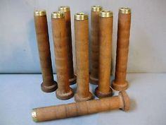 8-WOODEN-WOOD-TEXTILE-MILL-SPOOLS-BOBBINS-WITH-BRASS-END