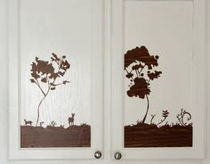 DIY Decal using 'wood' contact paper. I think I would like black contact paper. Or maybe black vinyl and use cricut