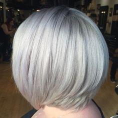 Layered Silver Blonde Bob
