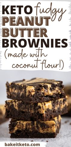 The best keto peanut butter brownies are easy to make and so super fudgy and delicious. Plus, this recipe is made with coconut flour (no almond flour!).