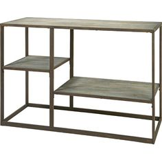 Bring rustic charm to your library or den with this wood and iron shelf, showcasing 3 tiers and a weathered finish.     Product: