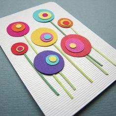 The Garden à adapter : collage de ronds (3 tailles) dans des couleurs contrastées, rajout des queues des fleurs (graphisme ? bandes fines à coller ?)