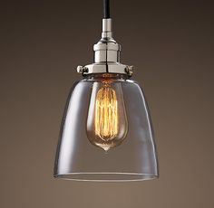 RH's 20th C. Factory Filament Clear Glass Cloche Pendant:Evoking early-20th-century industrial lighting, our reproductions of vintage fixtures retain the classic lines and exposed hardware of the originals. Designed to showcase the warmth of Edison-style filament bulbs.