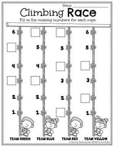 Number Order Worksheet - Back to School Preschool Worksheets Preschool Binder, Preschool Age, Preschool Worksheets, Preschool Activities, Back To School Worksheets, Back To School Activities, English Stories For Kids, Letter Recognition, Play To Learn