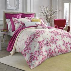 Inspired by travels to Japan, the cherry blossom branches of this bluebellgray Cherry Blossom Pink Comforter Set combines Eastern beauty with signature watercolor brushstrokes to create the beautiful blossoms in pretty pink tones. Pink Comforter Sets, Twin Comforter, Console, Flat Sheet Sizes, Bluebellgray, European Pillows, Bedding Collections, Bed Design, Duvet Cover Sets