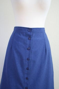 Vintage 1980s Blue A line skirt size S to M by Ideallyvintage