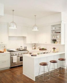 This kitchen has quartz countertops which are nonporous and is low-maintenance.