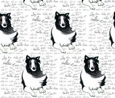 Sheltie Love gift wrapping paper on Spoonflower - not sold in stores only on Spoonflower