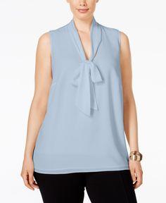 0d32a0a35ddc3 Michael Michael Kors Plus Size Tie-Neck Blouse Plus Size Blouses