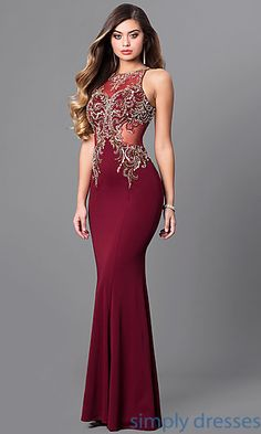 820facdcc6f1 Long Formal Prom Dress with Illusion Bodice