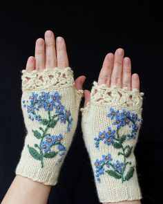 Hand Knitted Fingerless Gloves, Gloves & Mittens, Gift Ideas, For Her, Winter Accessories, Ivory, Blue, Forget-Me-Not, Flowers, Elegant,