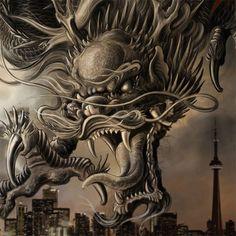 Dragon over city