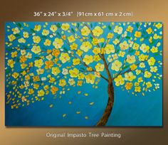 "Original Oil Painting LARGE 36"" Impasto Tree Painting, Yellow Blooming Tree, Large Palette Knife Tree Painting Blue and Yellow Wall Art"