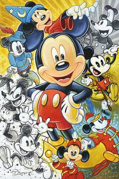 Mickey Mouse Walt Disney Fine Art Tim Rogerson Signed Limited Edition of 30 on Canvas