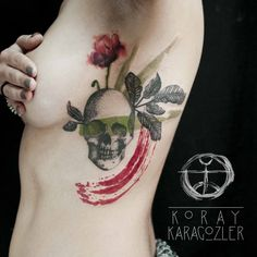Skull n Flower #watercolor #skull #tattoo #flower #flowertattoo #leaf #abstract #abstracttattoo #tattooartist #tattoodesign #custom #customdesign #redbrush #chesttattoo #ribtattoo #tattrx #equilattera #koray_karagozler #koraykaragözler #watercolortattoo #tattooedgirls