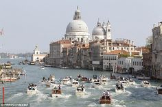 Venice, Italy.  Venetian waterways filled with water taxis.